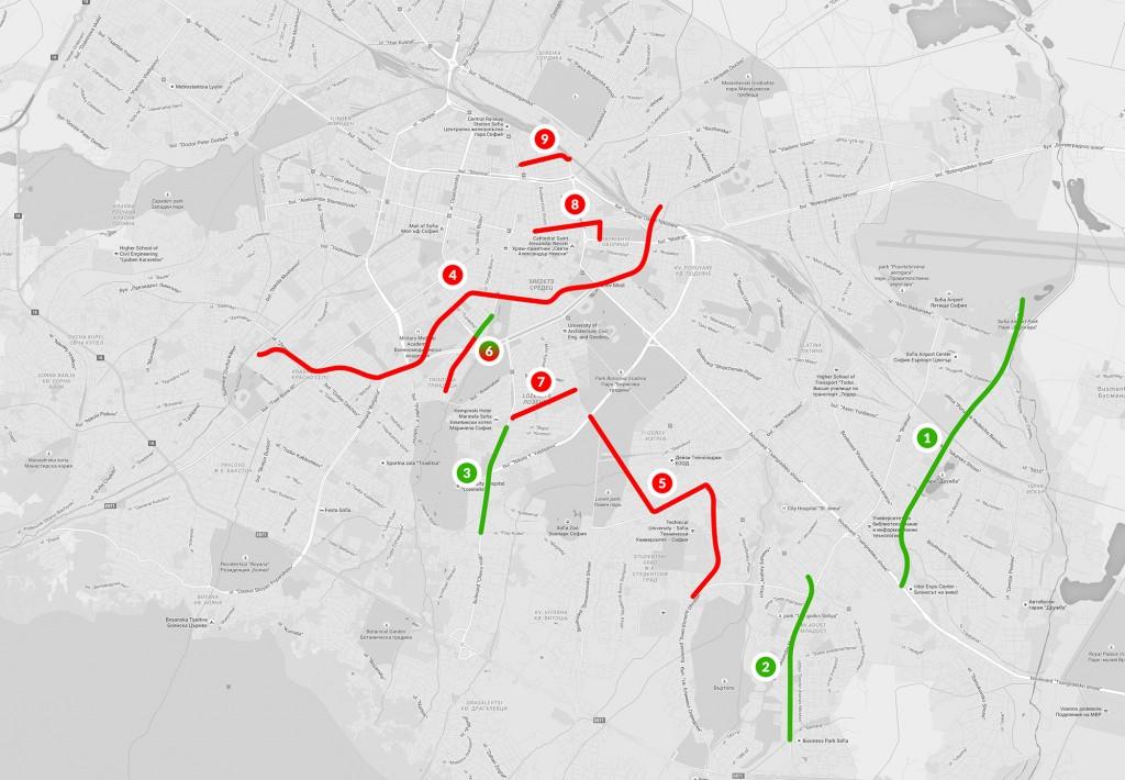 Карта на обектите на градския транспорт, включени в капиталовата програма за 2015 г.