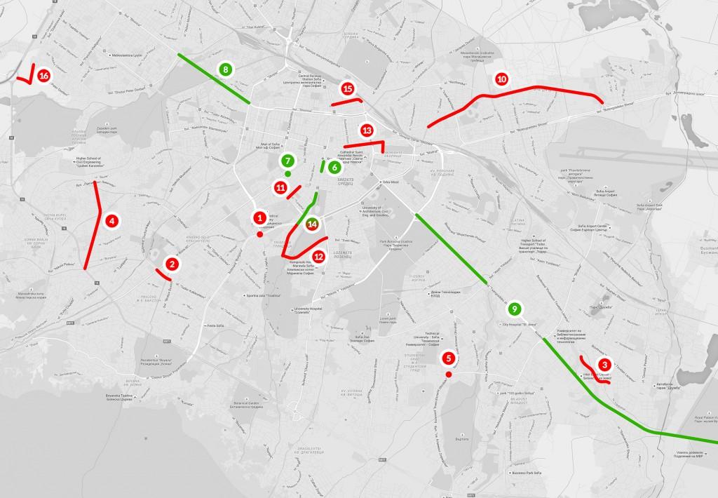 Карта на ремонтите на уличната мрежа, залегнали в капиталовата програма за 2015 г.