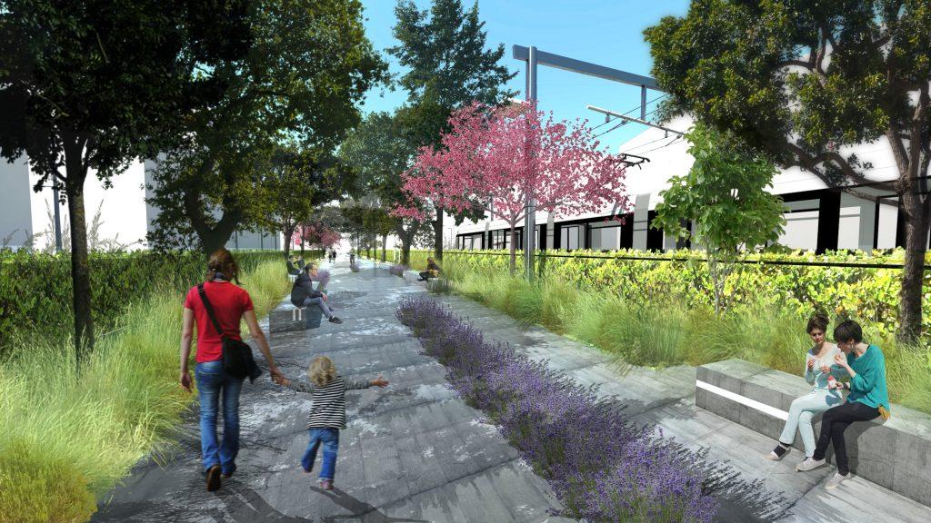 парк Македония - пешеходни алеи с кътове за почивка и сянка