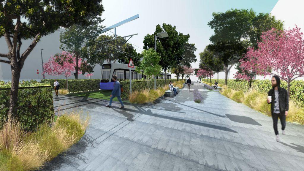 парк Македония - зелени релси за бърз трамваен транспорт