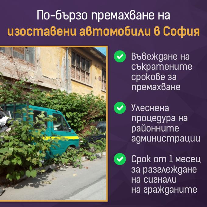 Улеснени и ускорени процедури за премахване на изоставени коли в София